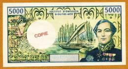 "Copie/Fac-similé 5000F ""BOUGAINVILLE"" Specimen  UNC - Papeete (French Polynesia 1914-1985)"