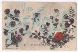Carte Illustrée Fleurs & Rubans - Une Pensée De Longèves - Circulé 1912, Colorisée - France