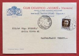 """CICLISMO - C.O.N.I. - CLUB CICLISTICO """"SCORZE'"""" VENEZIA - CARTOLINA MEDAGLIA D'ARGENTO ALLA COPPA ZARDO - 1935 - Pubblicitari"""