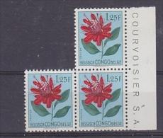 Belgisch Congo 1952 Bloemen 1.25Fr 3x  (cat. 311) ** Mnh (24511) - Belgisch-Kongo
