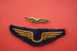 "INSIGNE DE RECONNAISSANCE->1 AILE EN TISSU Brod�+1 INSIGNE METAL Dor� ""CHAROGNARD""(a�ronautique)""Arm�e de l�Air aviation"