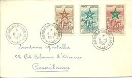 Lettre Circulé MAROC N° 103 à 105 - PA - 1957 -Oblitération Spéciale FOIRE INTERNATIONALE CASABLANCA - Morocco (1956-...)
