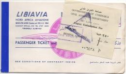 Ticket/Billet d'Avion. Libiavia Tripoli. Benghazi 1962.