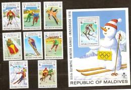 Maldives Malediven 1976 Yvertn° 584-91 Et Bloc 34 *** MNH Cote 85 FF Sport - Maldives (1965-...)