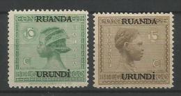 TP DU RUANDA-URUNDI N� 79 � 80 NEUFS AVEC TRACE DE CHARNIERE