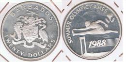 BARBADOS 20 DOLLARS OLYMPIC GAMES 1988 PLATA SILVER Z - Barbados