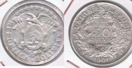BOLIVIA MEDIO BOLIVIANO 1901 PLATA SILVER Z - Bolivia