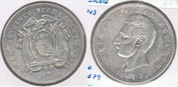 ECUADOR 5 SUCRES MEXICO 1943 PLATA SILVER Z - Ecuador