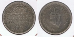 INDIA HALF  RUPIA RUPEE 1943 PLATA SILVER Z - India