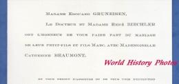 Faire-Part De Mariage De 1971 - PARIS - Edouard GRUNEISEN , Dr Rene BIECHLER - Mariage De Marc Avec Catherine BEAUMONT - Wedding