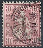 Sitzende Helvetia 38, 10 Rp.rot  (Bahnstempel PONTARLIER - NEUCHÂTEL)              1878 - Ferrovie