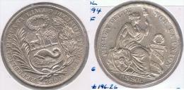 PERU  SOL 1894 PLATA SILVER. Z - Perú
