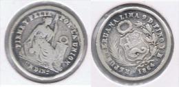 PERU DINERO 1864 PLATA SILVER - Perú