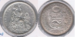 PERU MEDIO  SOL 1917 PLATA SILVER. Z - Perú
