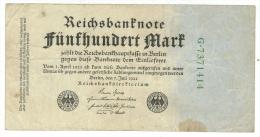 Allemagne // Deutschland // Billet 500 Marks Type 1922 - [ 3] 1918-1933 : République De Weimar