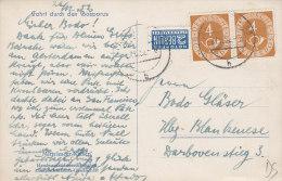 BRD 124 MeF Waagerechtes Paar Auf AK: Festung Am Bosporus, Mit Stempel: Hamburg 27.12.1952 - BRD
