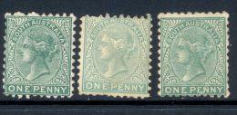 SOUTH AUSTRALIA, 1876 1d Three Shades (P10) Unused No Gum,SG167,a,b, Cat £93 - 1855-1912 South Australia