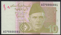 PAKISTAN BANKNOTE 2015 - Rs.10 Rupees Ashraf Vathra, Semi Fancy Number AEP 6666661 UNC - Pakistan