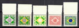 Brazil-Brasil 1951 - Brazilian Flag - 5 Dummy Stamps - Specimen Essay Proof Trial Prueba Probedruck Test - Brésil