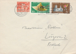 1955 SWITZERLAND COVER Multi Stamps Fête Des Vignerons, Philatelic Exposition Wine Alcohol - Switzerland