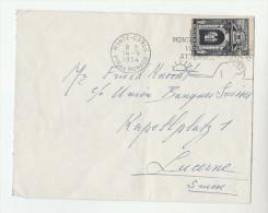 1954 MONACO  COVER 30f Porte De Palais Stamps To Switzerland - Monaco