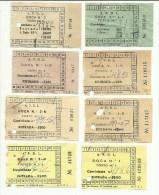 8 Tickets - A. P. D. L. (Administra��o dos Portos do Douro, Leix�es e Viana do Castelo, SA) Portugal
