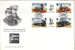 1992 THE UNION PACIFIC RAILROAD TRAINS SG 522/25 FDC - Isola Di Man