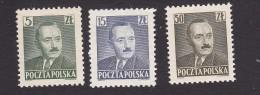 Poland, Scott #478, 480, 484, Mint Hinged, Bierut, Issued 1950 - 1944-.... Republic