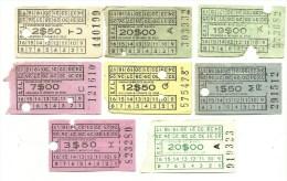 8 Tickets - C.F.L. - Carris De Ferro De Lisboa - Portugal - Railway