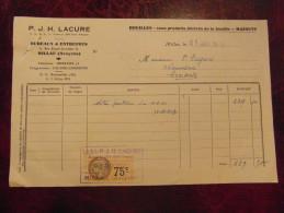 Reçu Facture Entete P.J.H. LACURE Houilles Mazouts Produits Derivés Millau Aveyron 1934 Avec Timbre Fiscal - Unclassified