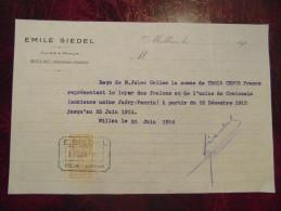 Reçu Facture Entete E. SIEDEL Millau Aveyron Cuirs Peaux Tannerie Avec Timbre Fiscal 1914 - France