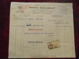 Reçu Facture Entete GANTS BUSCARLET Peaux Tissus Trefle Millau Aveyron Timbre Fiscal 1934 - Unclassified