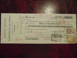Reçu Quittance Entete MORTREUIL VIDEAU Bordeaux Exportation Importation Avec Timbre Fiscal 1927 - Unclassified