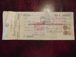 Reçu Quittance Entete PAUL LUGANS Ganterie Chamoiserie Creissels Aveyron Avec Timbre Fiscal 1933 - France