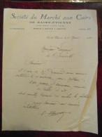 Lettre Commerciale Entete SOCIETE DU MARCHE AUX CUIRS Cuir De Saint St Etienne 1930 - Unclassified