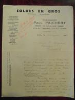 Lettre Commerciale Entete PAICHERT SOLDES EN GROS Maroquinerie Chaussures Gants Tissus Toiles Drap Lille 1933 - Unclassified