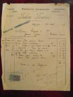 Facture Reçu Entete JULIEN FOURES Produits Chimiques Couleurs Doguerie Millau Aveyron 1926 Avec Timbre Fiscal - Unclassified