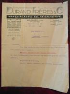 Lettre Commerciale Entete DURAND FRERES Specialités Pour L'electricité Bouchons Poires Sonneries Lampes Tournerie 1931 - Unclassified