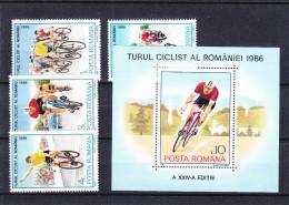 Cyclisme - Voitures - Motos - Roumanie - Yvert 3702 / 05 + Bloc 186 ** -MNH - Valeur 12,50 Euros - Ciclismo