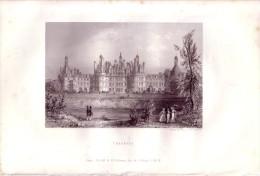 1845 - Chambord, Le Château.  Gravée Sur Acier Par T. Doherty D'après Son Propre Dessin - FRANCO DE PORT - Estampes & Gravures
