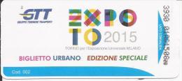 BIGLIETTO AUTOBUS GTT TORINO EDIZIONE SPECIALE EXPO 2015