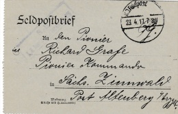 Feldpost WW1: From Romania To A Pioneerkommando In Altenberg I/Erzgebirge From Sänitetskompagnie 225 P/m 23.4.1917 - Let - Militaria
