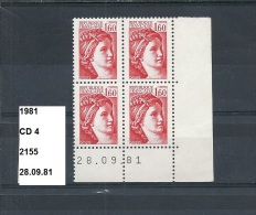 CD4 Timbres De 1981 Neuf** Y&T N° CD 2155 Daté 28.09.81 - 1980-1989