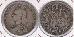 R.U. INGLATERRA VICTORIA HALF CROWN 1891 PLATA SILVER Z - K. 1/2 Crown