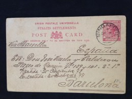 Entero Postal De Signapur A Barcelona 1898 - Singapur