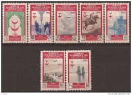 MA336STV-LFT3423TTA.Maroc.Marocco.MARRUECOS .PRO TUBERCULOS .1951.(Ed 336/42**) Sin Charnela.EXCELENTE - Aviones
