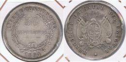 URUGUAY 50 CENTESIMOS PESO 1894 PLATA SILVER Z - Uruguay