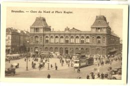 BRUXELLES Gare Du Nord Et Place Rogier Avec Tram  Publicité Chocolat MARTOUGIN Env. 1920 - Transport Urbain En Surface