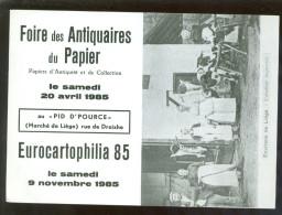 Bourse De Collection Et De Cartes Postales - Beurs Van Postkaarten  :   Liége 1985 - Beursen Voor Verzamellars