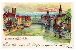 AK ZH Gruss Aus Zürich Meteor Karte Ges 15.4.1904 Stempel Poste Du Baur Au Lac ZH Litho Gebr. Metz - ZH Zurich
